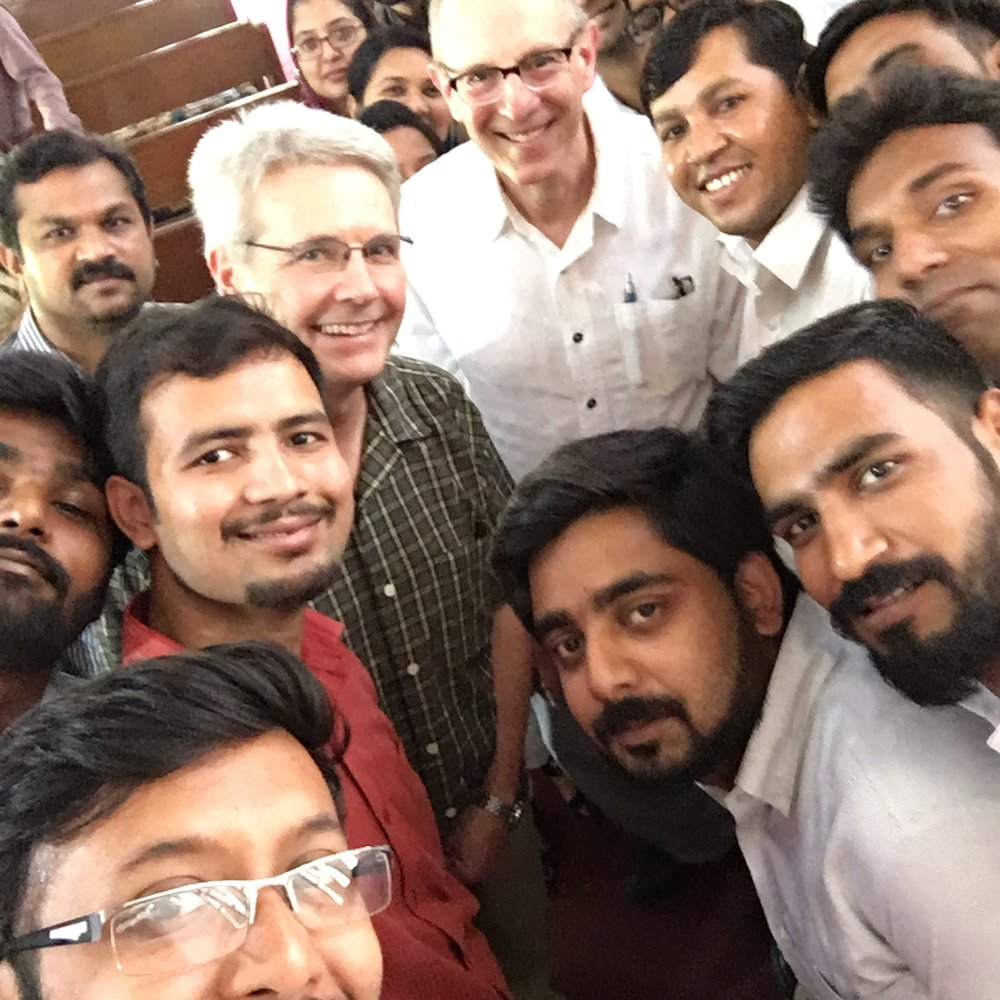Rob and Harris with students at Gujranwala Theological Seminary.
