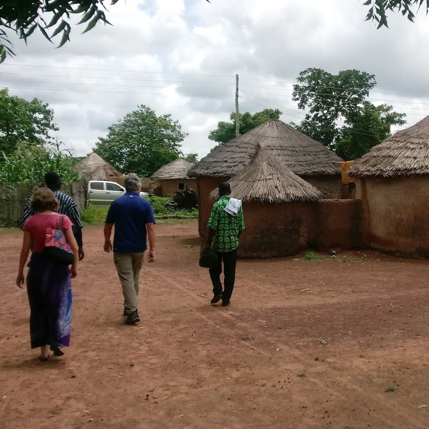 Walking through a village in the Northern District of Ghana.