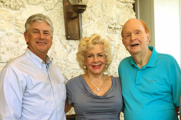 Former Outreach Board Chair Dr. Edwin Hurley meeting with Katherine and Dr. Alex Booth last year at their home in Stuart, Florida.