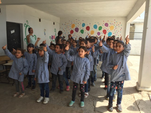 Children at the refugee school in Kab Elias singing for our group.
