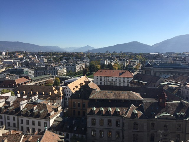 Geneva's skyline from Calvin's church tower - foreground shows dormers and additional floors people built into their attics to accommodate refugees.