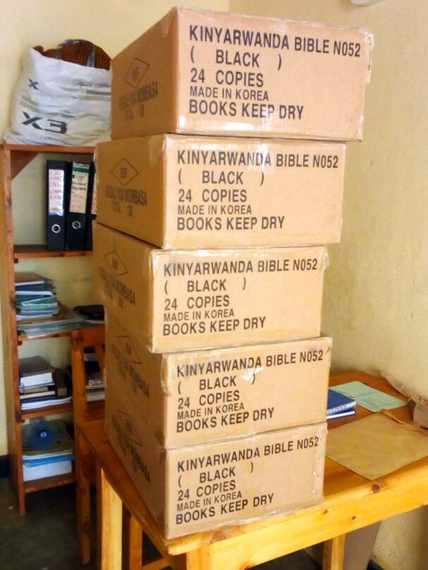 Boxes of Bibles delivered to the Gitarama Presbytery office.