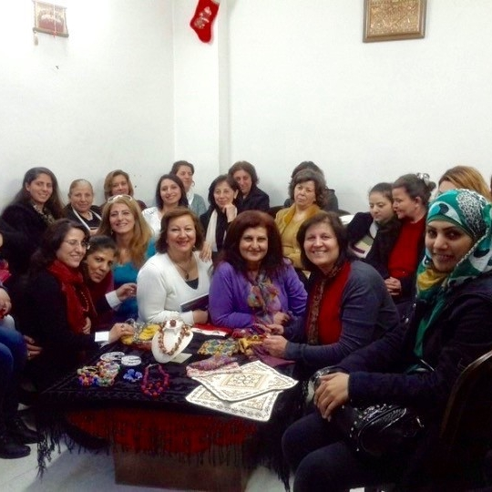A sewing group for the displaced in Damascus, to enable them to earn some income.