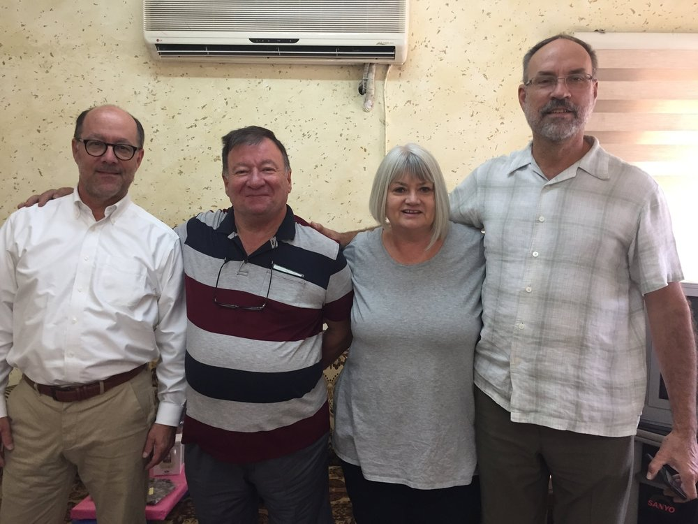 Ben McCaleb(left-First Presbyterian, San Antonio), Steve Burgess (right-West Hills Presbyterian, Omaha) and I met with Rev. Haitham in Baghdad in November.