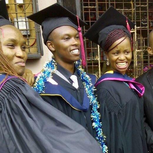 Peter Maina (middle), degree in Computer Science, Kenya Methodist University
