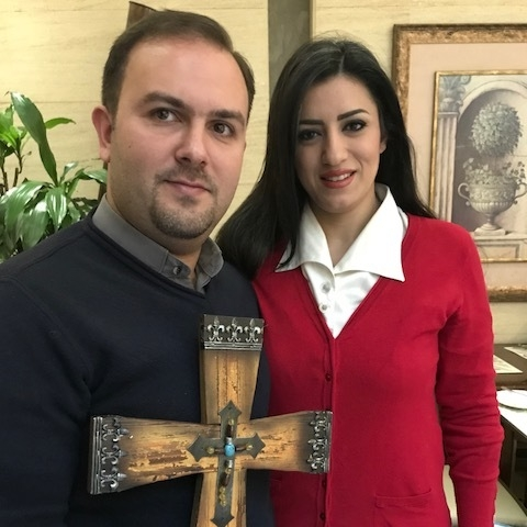 Rev. Mofid and Michelline Karajili, Homs Church, with our gift of a cross.