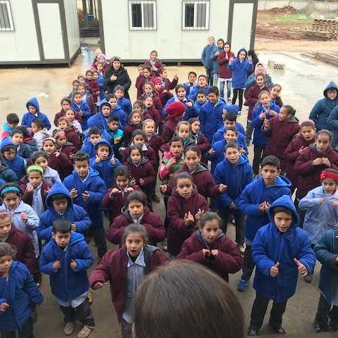 First shift of students of the refugee school at Anjar