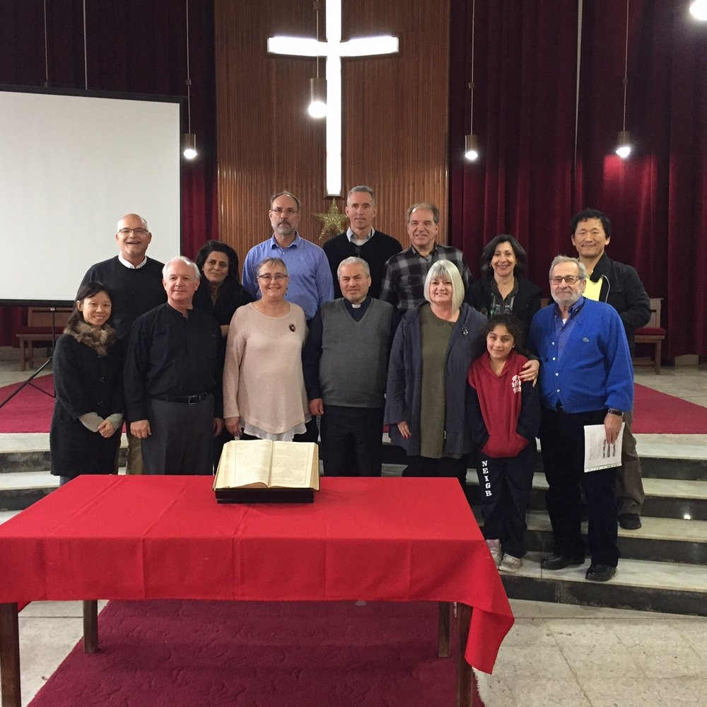 Our team with Rev. Mikhael, Nadej, their daughter Nour and the Korean missionaries in Sidon church