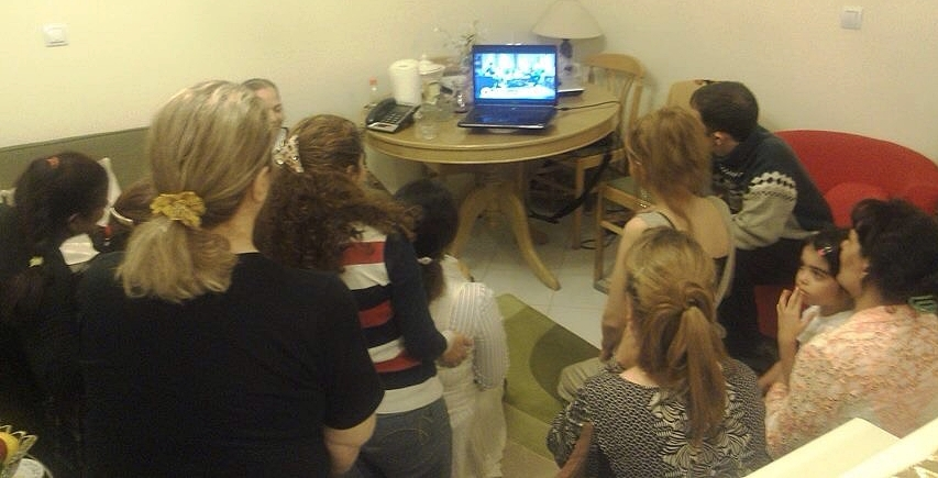 "Iranians in Tehran house church gathered to watch ""My House, My Church."""