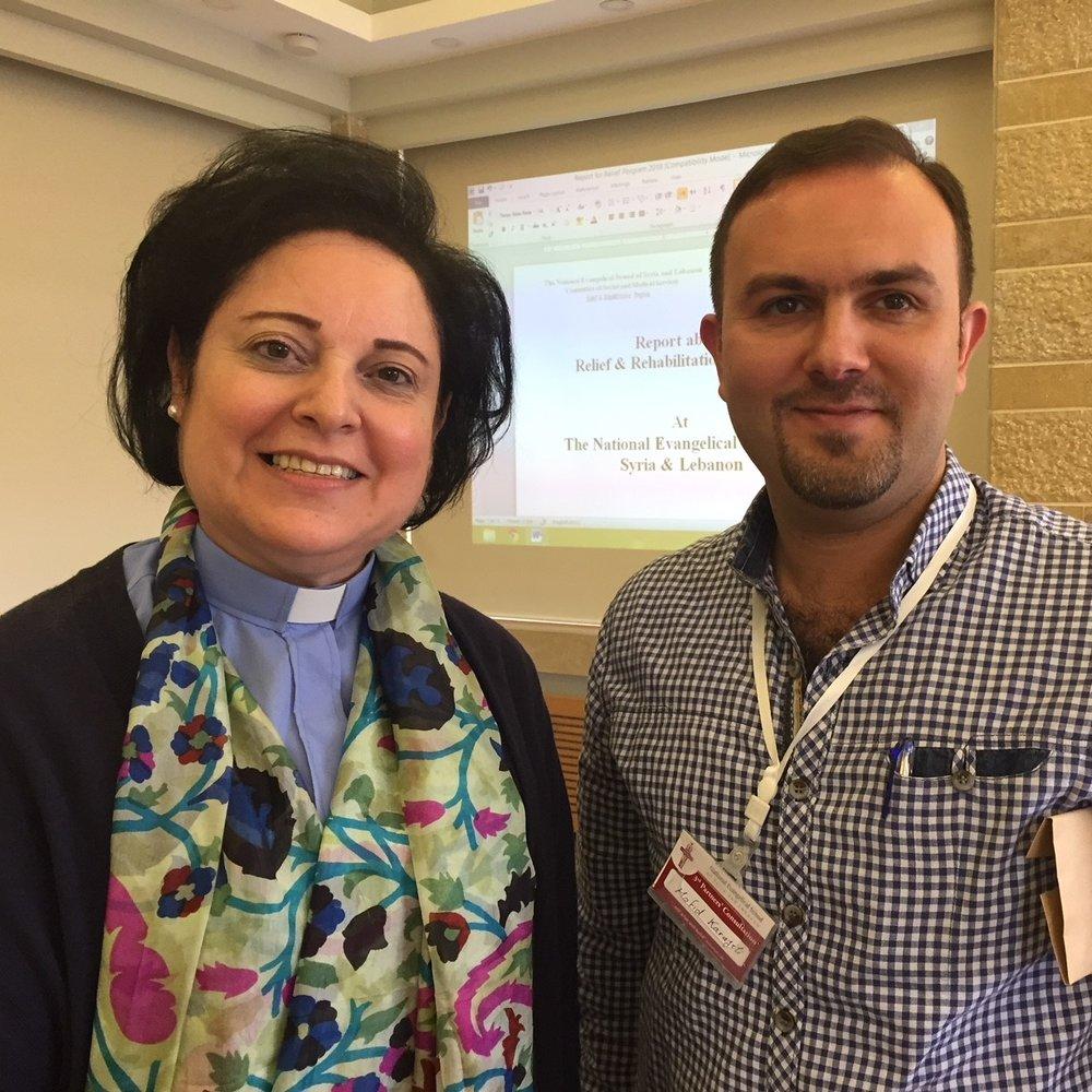 Synod pastors : Rev. Najla Kassab (Lebanon) and Rev. Mofid Karajili (Syria)
