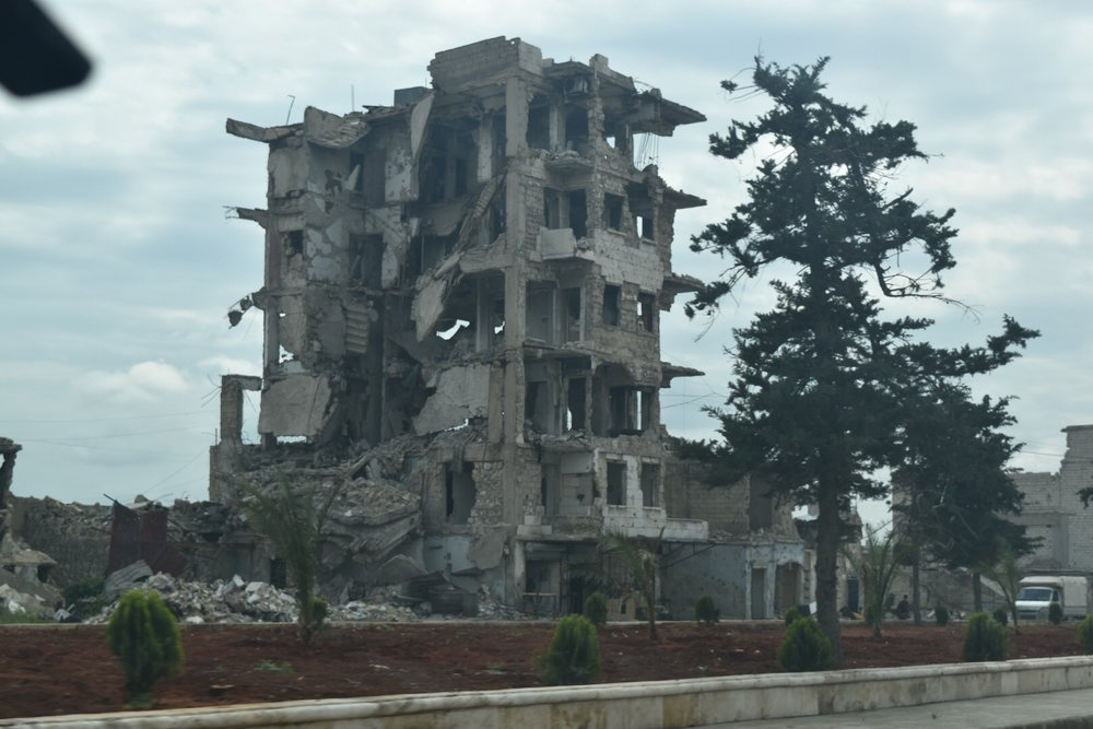 Destruction on the way into Aleppo.