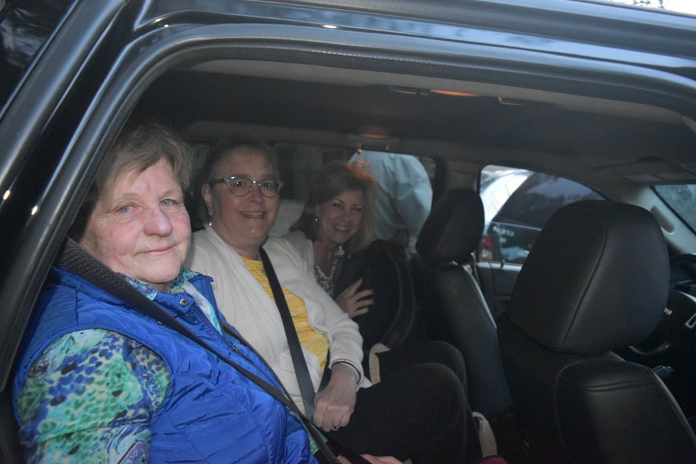 Our new French teammate Elizabeth, Joy and Julie on the road to Aleppo.