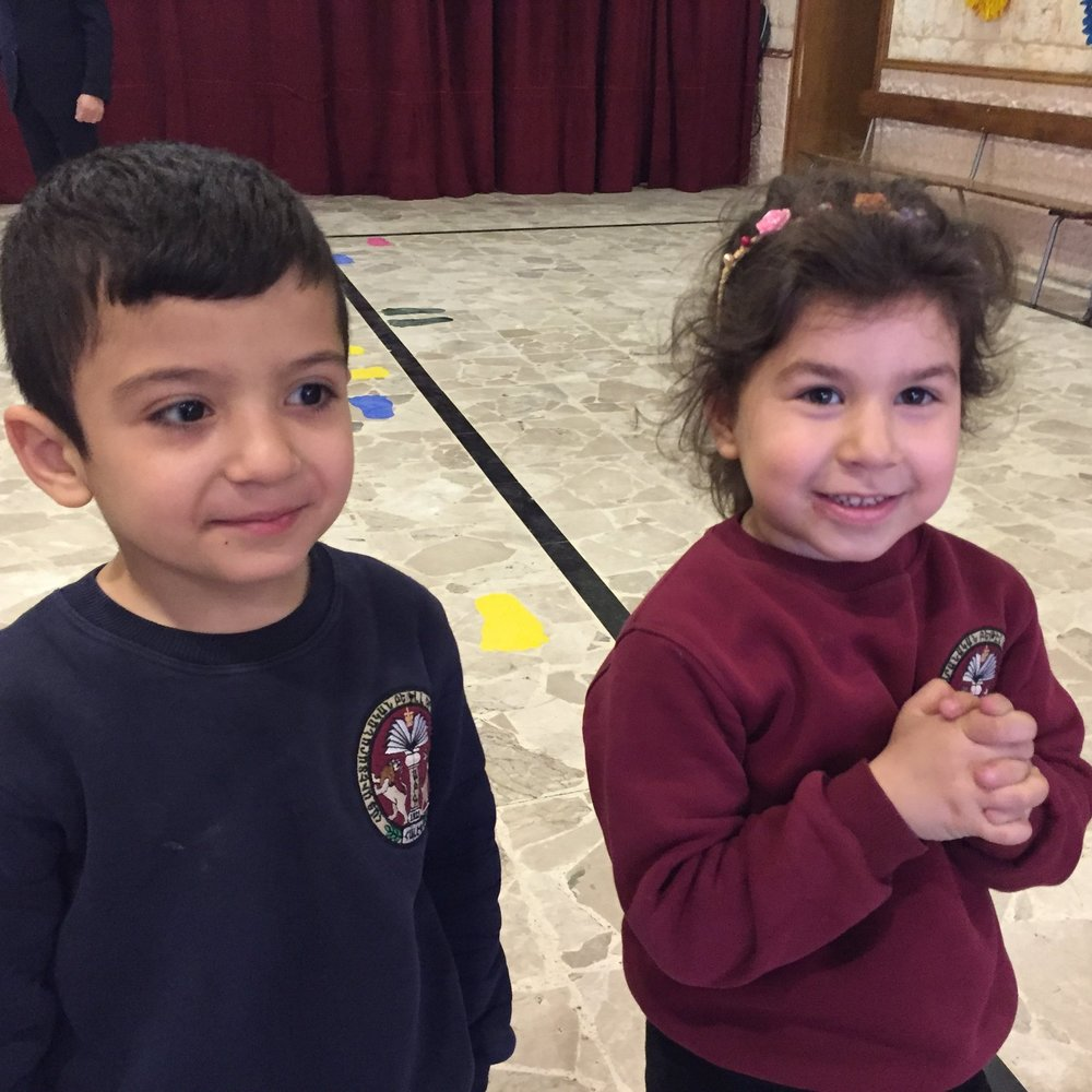 Kindergarten students at the Armenian Evangelical Church in Aleppo, young flowers in a new garden of hope