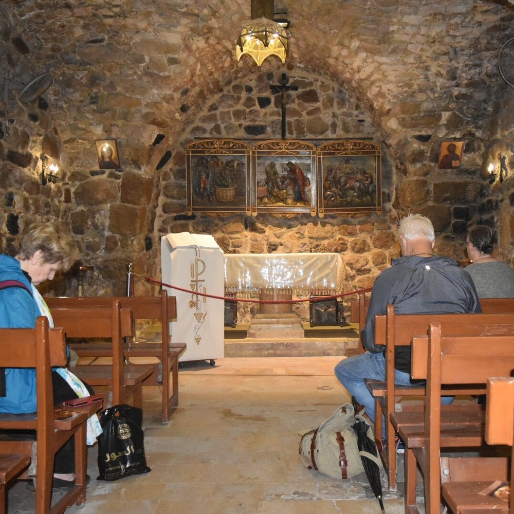 Praying in the Ananias Chapel, traditionally noted as the place where Saul's eyes were opened and he was baptized as Paul