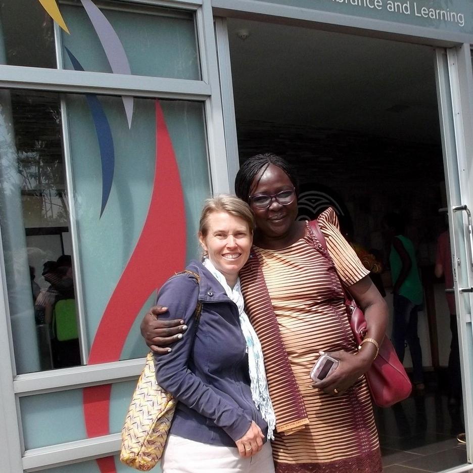 Kristi and Mama Sarah at the National Genocide Memorial Kigali, Rwanda