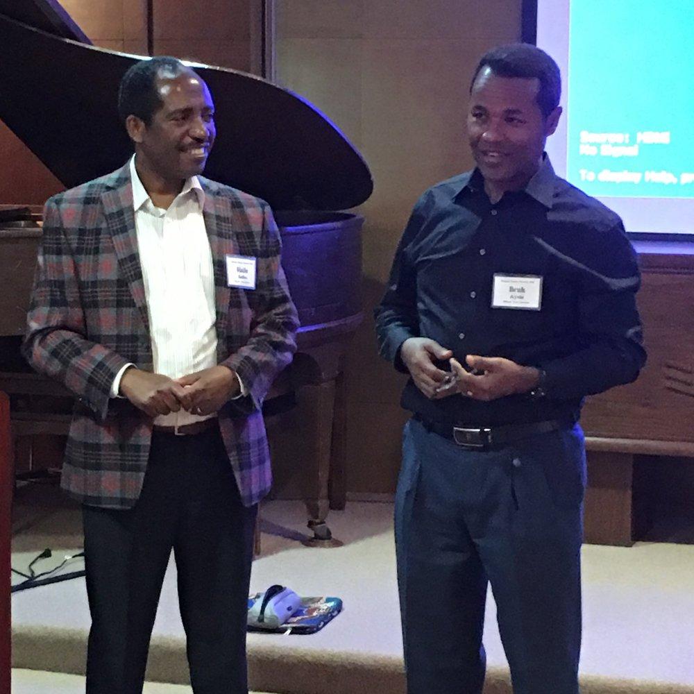 Dr. Bruk Ayele (right) and Haile Sadins Sabab