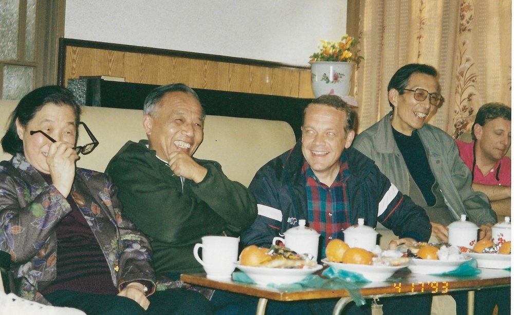 Leaders in Hangzhou in 1993, Jeff is in the center