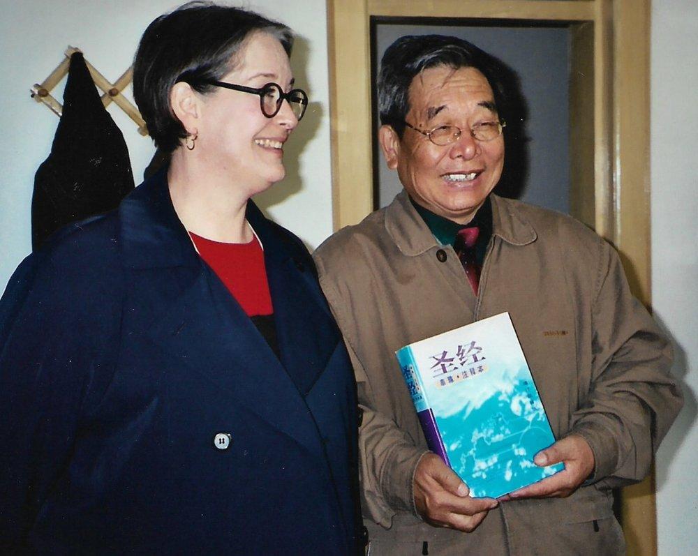 Lynne Quinn with Rev. Sun Head of Heilongjiang Bible School, Harbin