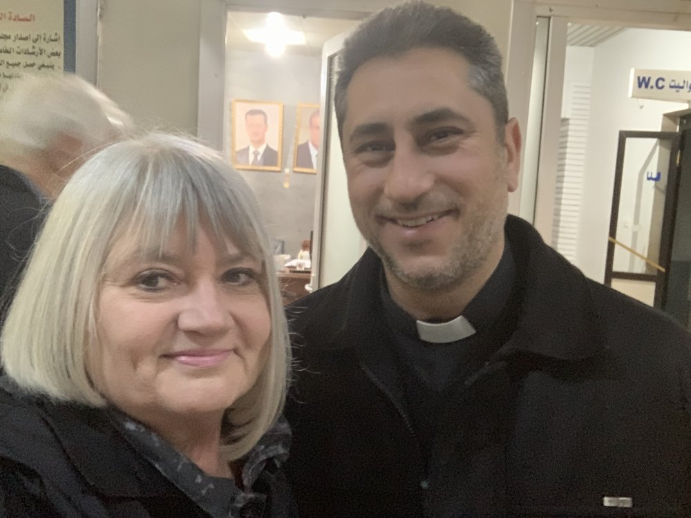 Marilyn with Rev. Firas Ferah, pastor of Qamishli Church in northeast Syria