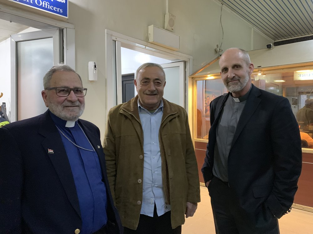 Rev. Nuhad Tomeh of Outreach with elder Haithem of Qamishli and Rev. Mike Kuhn of our team