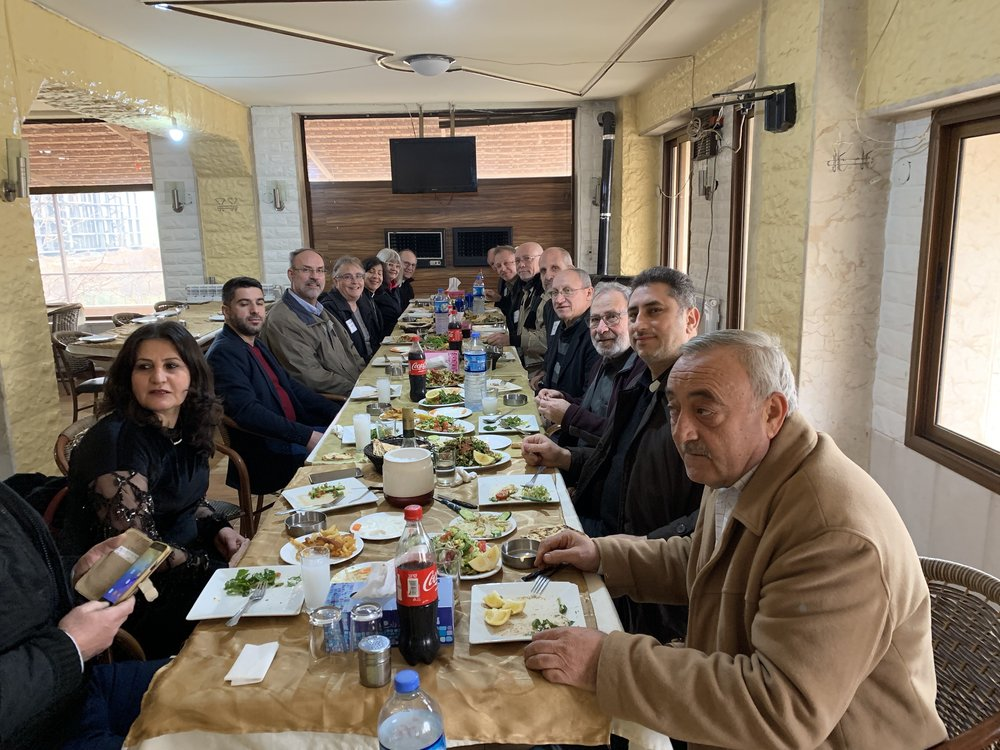 Lunch with Rev Firas and elders of Malkieh church