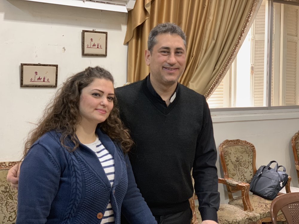Rev Firas Ferah and his wife Silva in the Qamishly church parlor