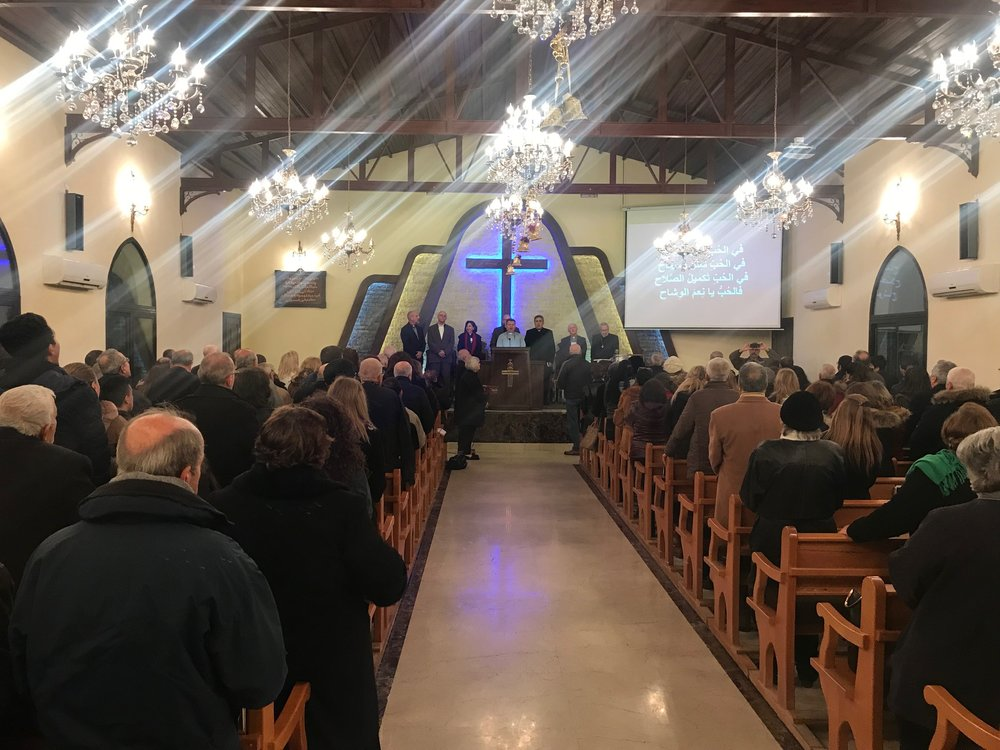 A full house for worship in Aleppo church Wednesday evening