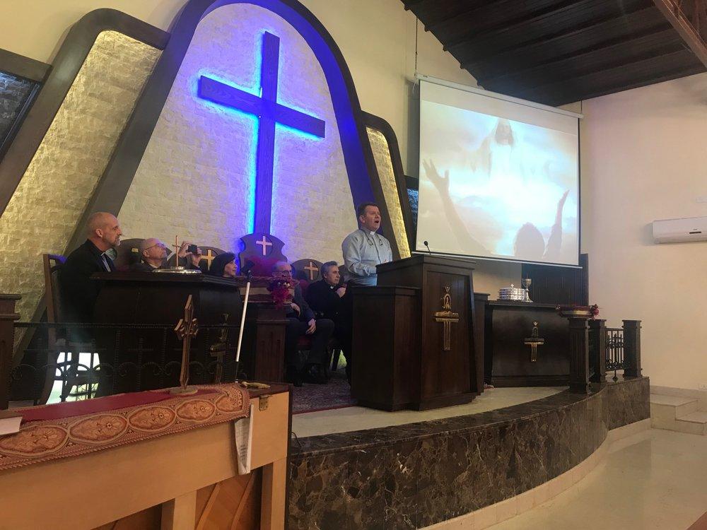 Worship in Aleppo church on Wednesday evening