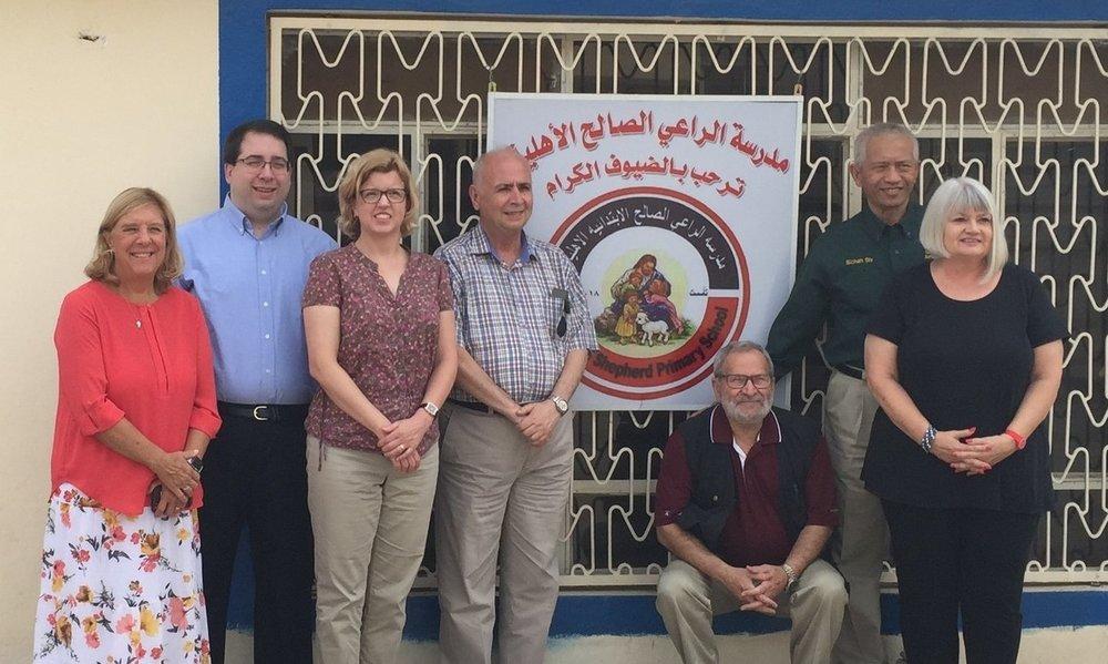 Ginny, Tony, Gretchen, Rev. Farouk, Nuhad, Sichan and Marilyn at the newly opened Good Shepherd Elementary School