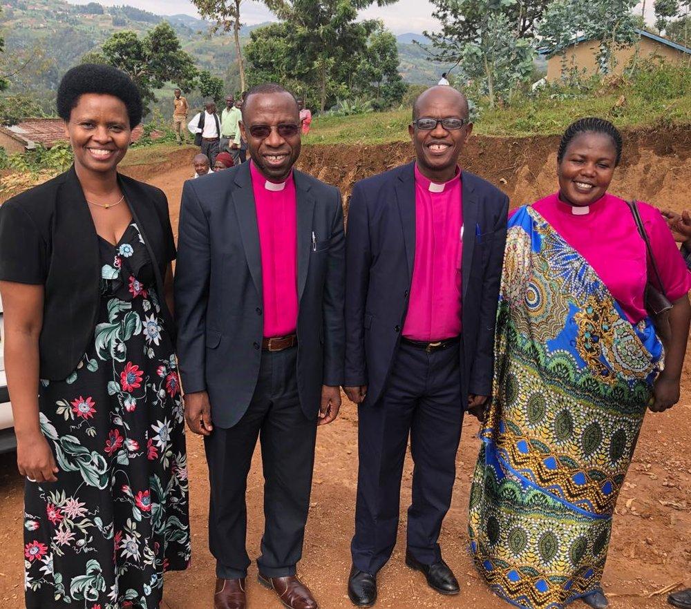 Present for our Sunday worship were (R to L) Rev. Julie Kandema (Vice President of the EPR), Rev. Joseph Ndagiro (moderator of Gisenyi Presbytery), and Rev. Dr. and Mrs Pascal Bataringaya (President of the EPR)