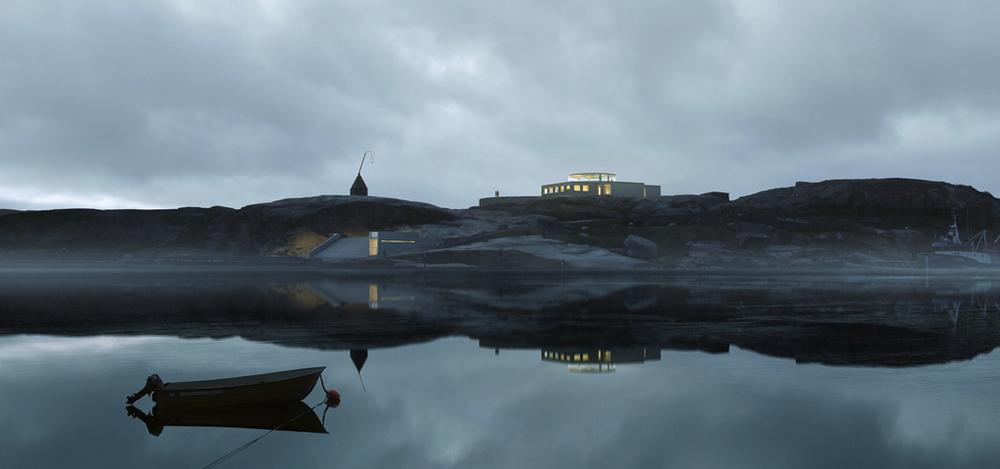illustrasjonsfoto av Verdens Ende med det nye nasjonalparksenteret. . Foto:Ola Roald Arkitekter/MIR