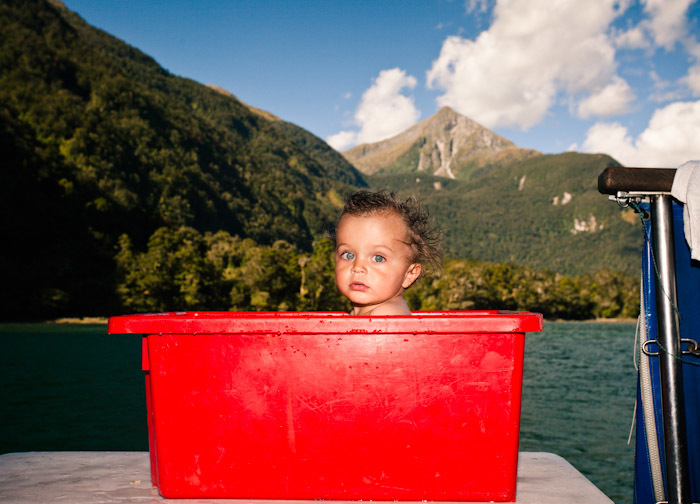 Luca, early in 2010 on a boat in Fiordland, New Zealand. Could there have been anywhere better in the world to be taking a bath?