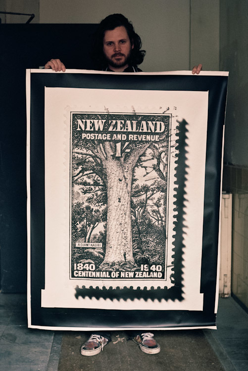 This print is for my dad for his 60th birthday. The Kauri is New Zealand's biggest tree and is truly ancient, first appearing during the Jurassic period 190 million years ago. This stamp depicts a Kauri called 'Tane Mahuta' which means 'God of the Forest'. It is still standing.