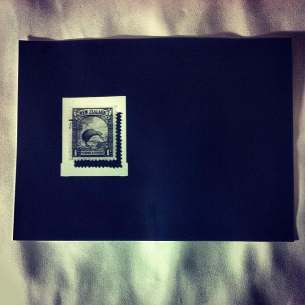 Kiwi stamp contact print