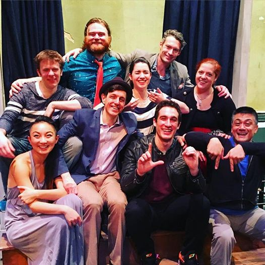 The cast of Letter of Marque Theater Company's DOUBLE FALSEHOOD (L to R):  Poppy Liu ,  Adam Huff ,  Nolan Kennedy ,  Tom Giordano ,  Montana Lampert Hoover ,  Welland H. Scripps  (top),  Zach Libresco  (bottom)  Scarlet Maressa Rivera ,  Ariel Estrada