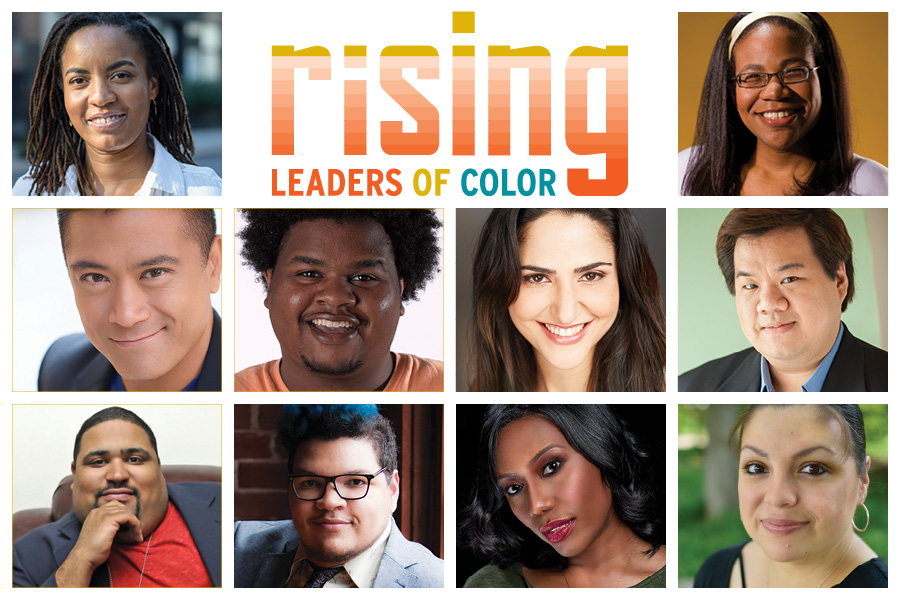 The participants of the third round of the Rising Leaders of Color Program. L to R and top to bottom: Sophie Ancival, Rosalind Early, Ariel Estrada, Bryce Goodloe, Pia Haddad, Peter J. Kuo, Carl Overly Jr.,  Gabe Taylor, Jacqueline Thompson, and Anna Skidis Vargas.