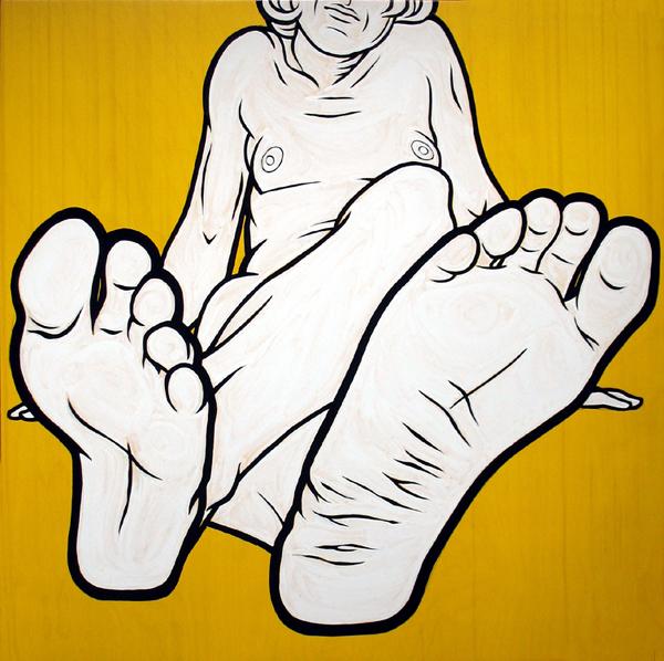 """Feet I"" enamel on panel, 36""x36"""