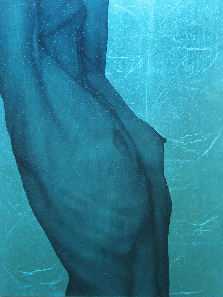 """Blue Torso II"" oil, silver leaf on birch, framed in textured, colored glass, 20""x18"""