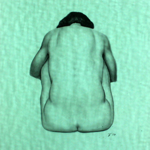 """Figure_Back"" 8""x8"" charcoal on mylar under textured colored glass"
