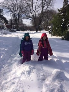 The girls enjoy Snowzilla!
