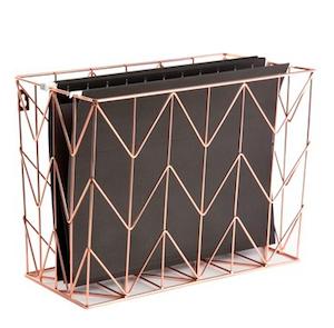 Gift Guide - Rose Goldtone Hanging File Basket.png