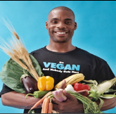 "This is award winning vegan body builder Kenneth Williams. His T-shirt says ""Vegan - No Body Gets Hurt"""