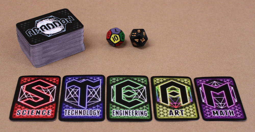 Players gather cards that represent the STEAM fields, and use them to build their escape vehicle and complete different tasks.