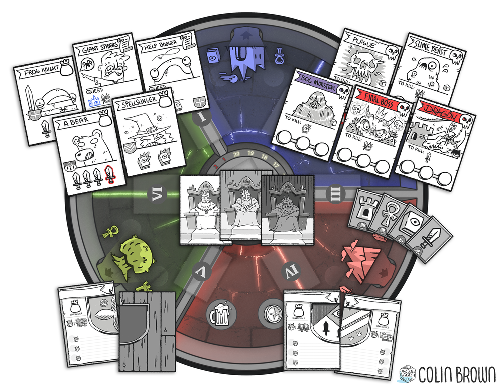 Update 2: Improved gameplay, new board layout, item cards. Above is the current prototype, no art is final.