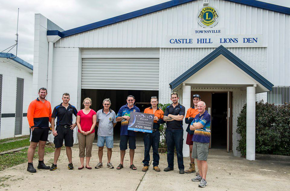 The team at Apollo Solar proudly donating a 7kW PV Solar System to the amazing people at Castle Hill Lions Club.