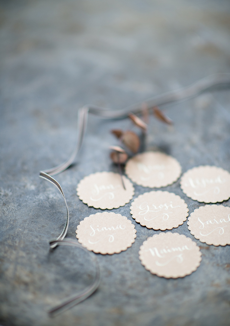 Calligraphy name tags on Kraft by A Creative Affair s t u d i o. Photo ©Clara Tuma.