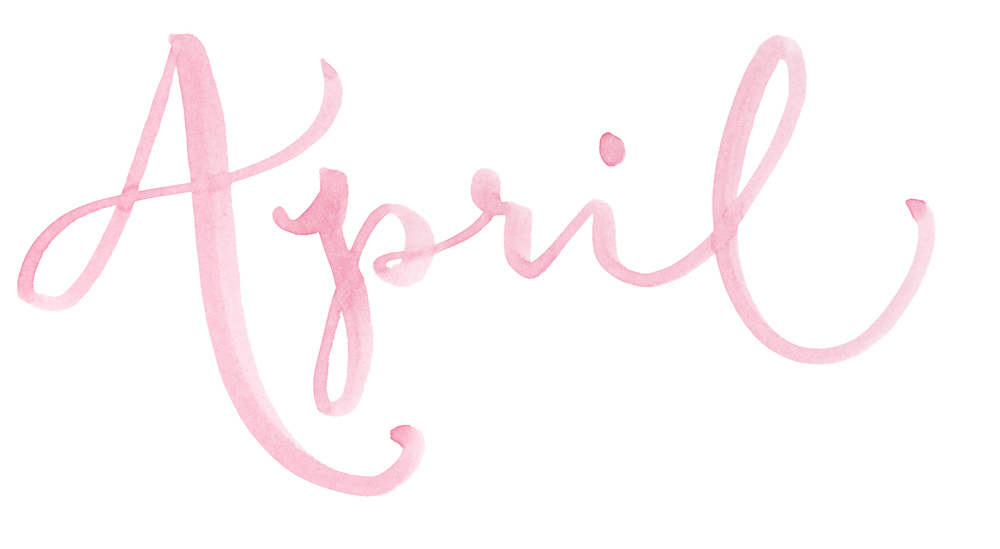 """Names of the months. Hand Lettered watercolor calligraphy """"April"""" by A Creative Affair"""