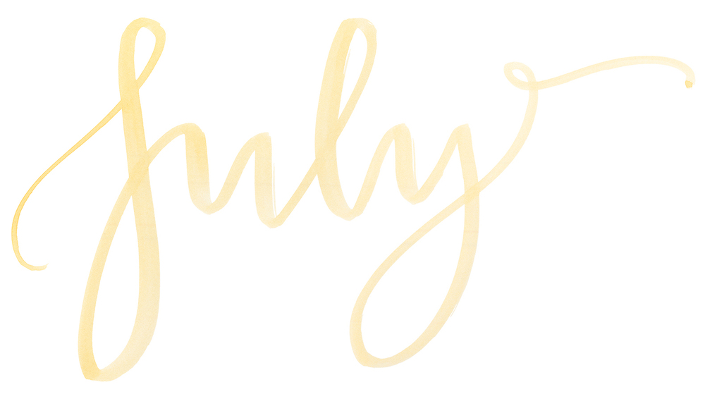 "Names of the months. Hand Lettered watercolor calligraphy ""July"" by A Creative Affair"