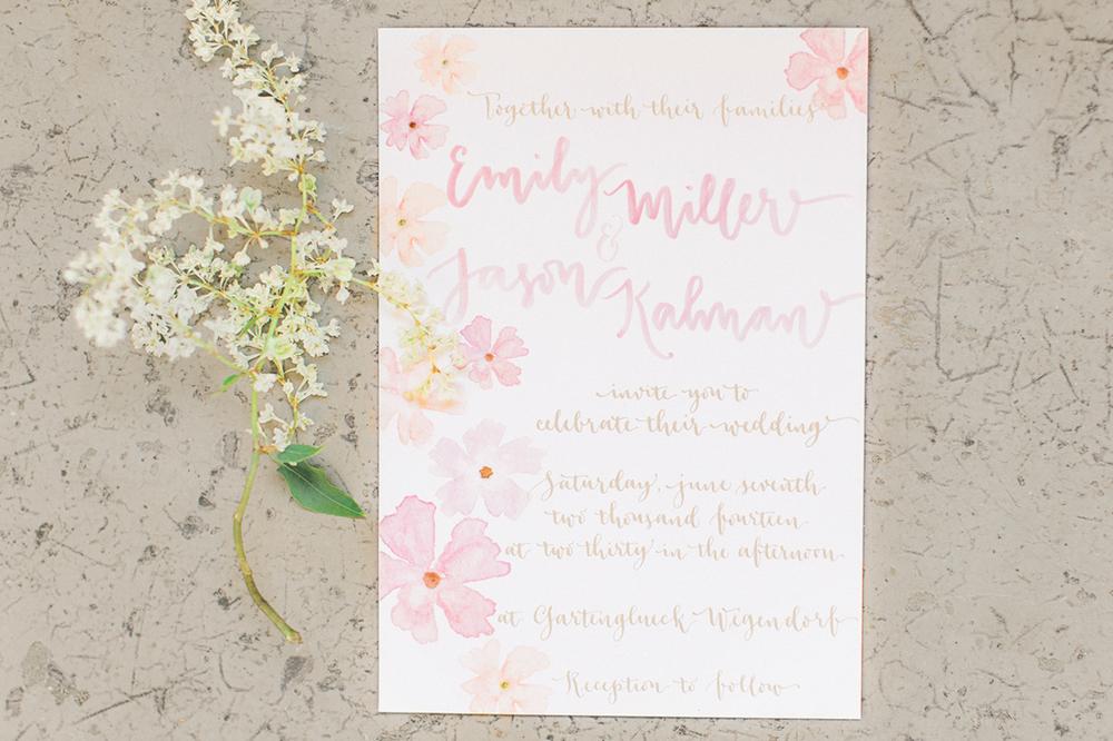 Romantic blush pink watercolor invitation design — a