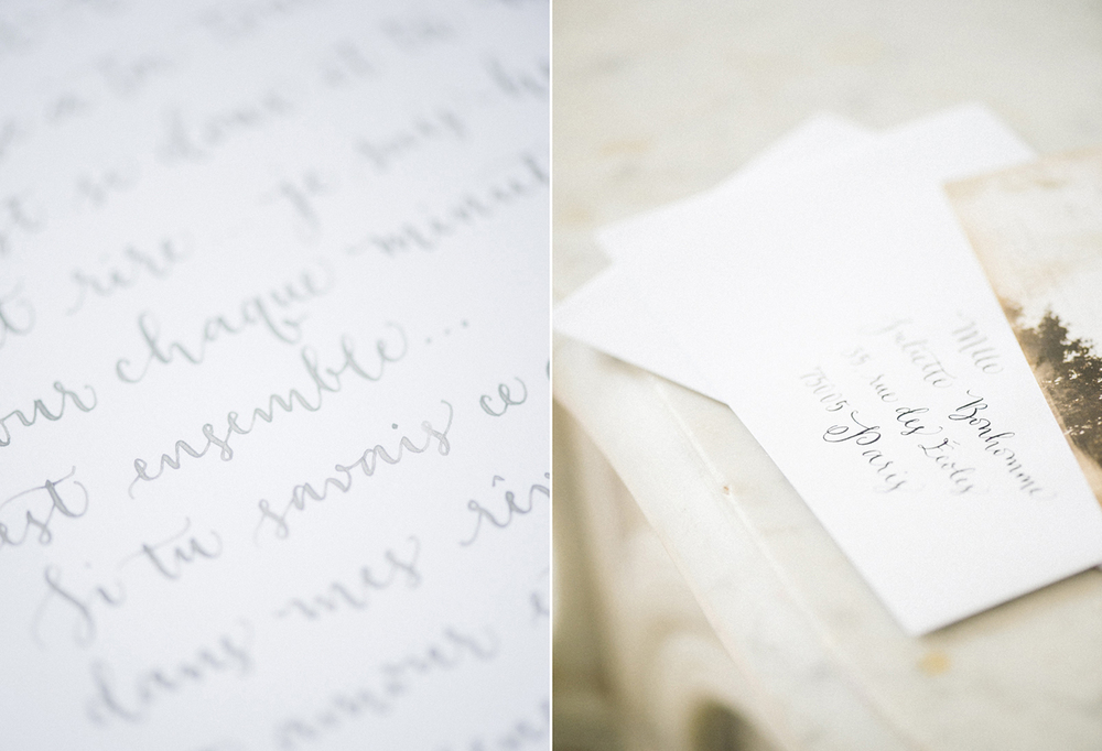 Paris wedding calligraphy letter by A Creative Affair_Photo by Clara Tuma